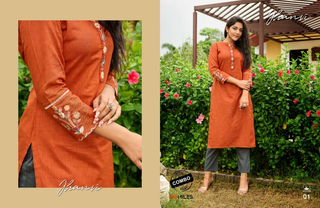 100 MILES JHANVI DESIGNER COTTON KURTI WITH EMBROIDERY WORK WITH SCALLOP DETAILING COMBO PANTS WHOLESALE