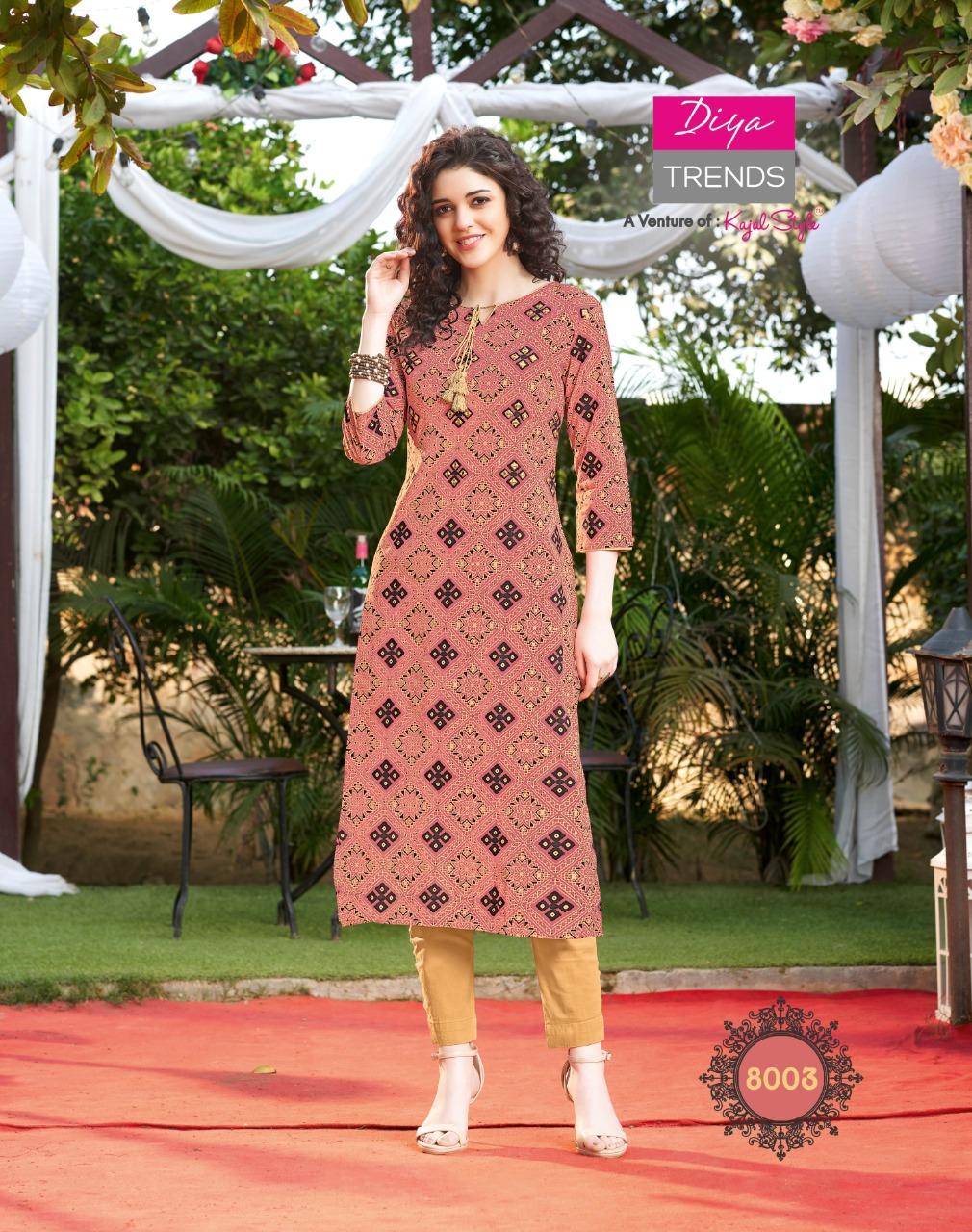 Diya Trendz Gardencity Vol 8 Heavy Rayon Printed Party Wear Fashionable Kurti Wholesale