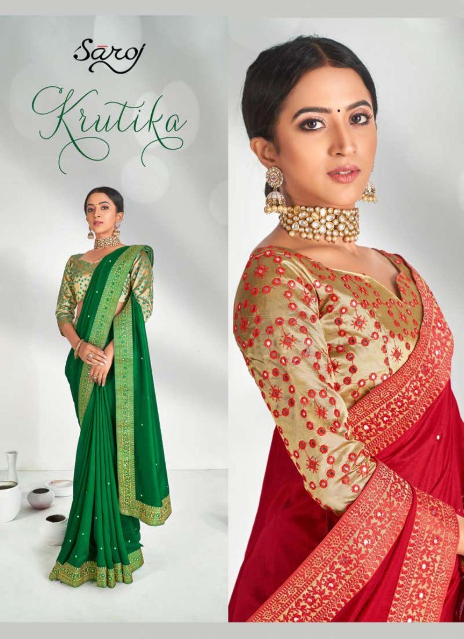 Saroj Saree Kritika Designer Border Heavy Silk Festival Wear Saree In Best Wholesale Rate