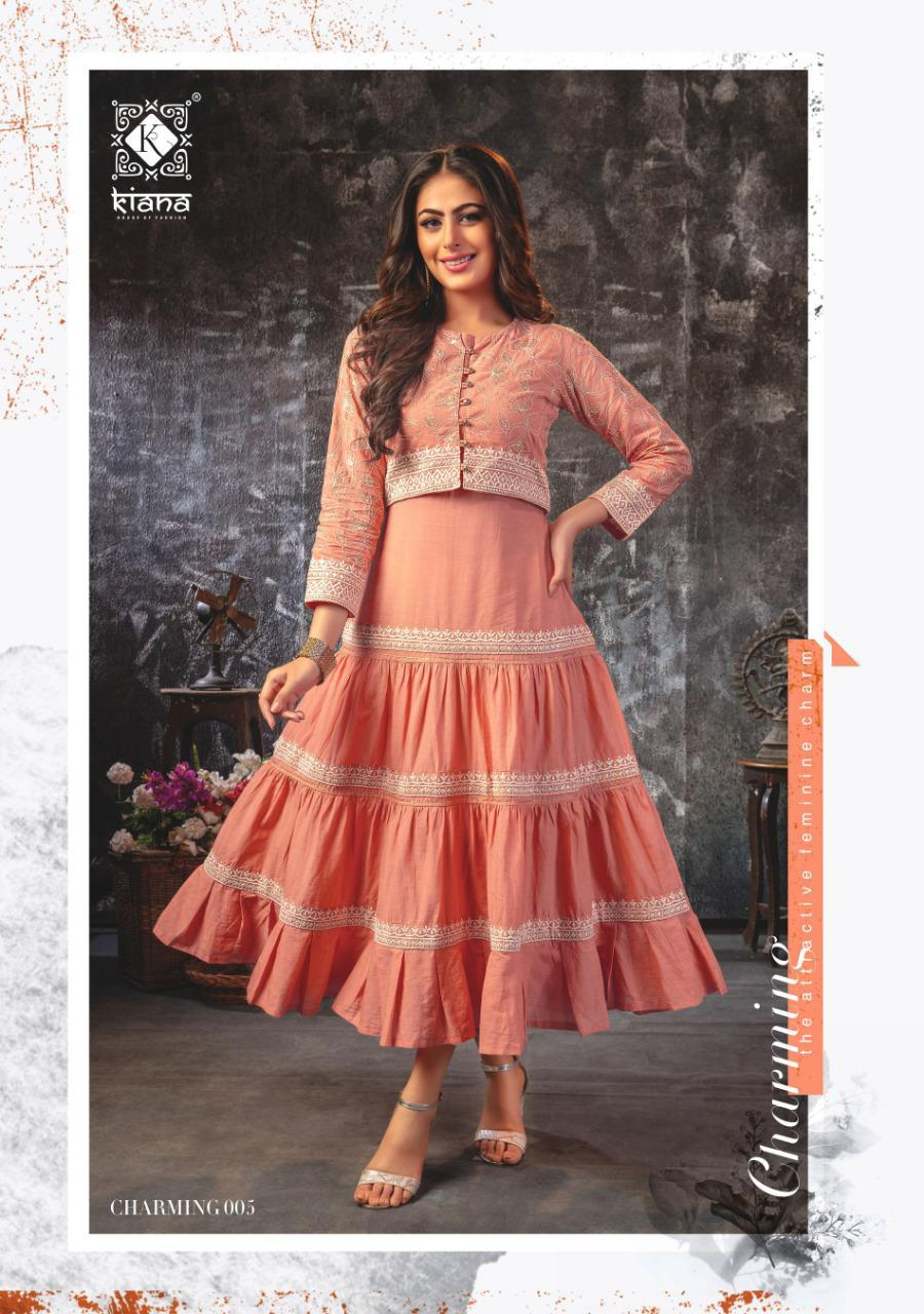 Charming Kiana House Of Fashion Designer Party Wear Fashionbale Lucknowi Work Kurta With Sharara Wholesale