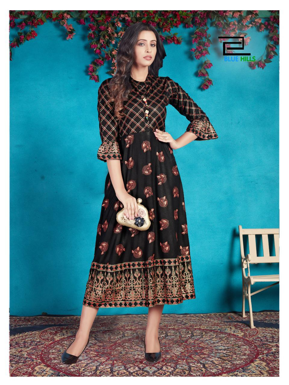 Blue Hills Classy Designer Party Wear Fashionable Mix And Match Rayon With Gold Print Kurti Wholesale