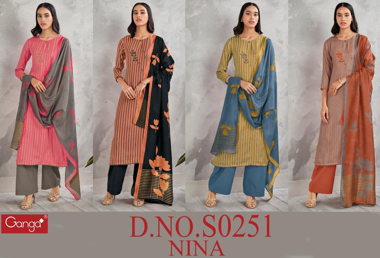 Ganga Nina 251 Pure Modal Silk Print With Embroidery Designer Heavy Work Party Wear Suits Wholesale