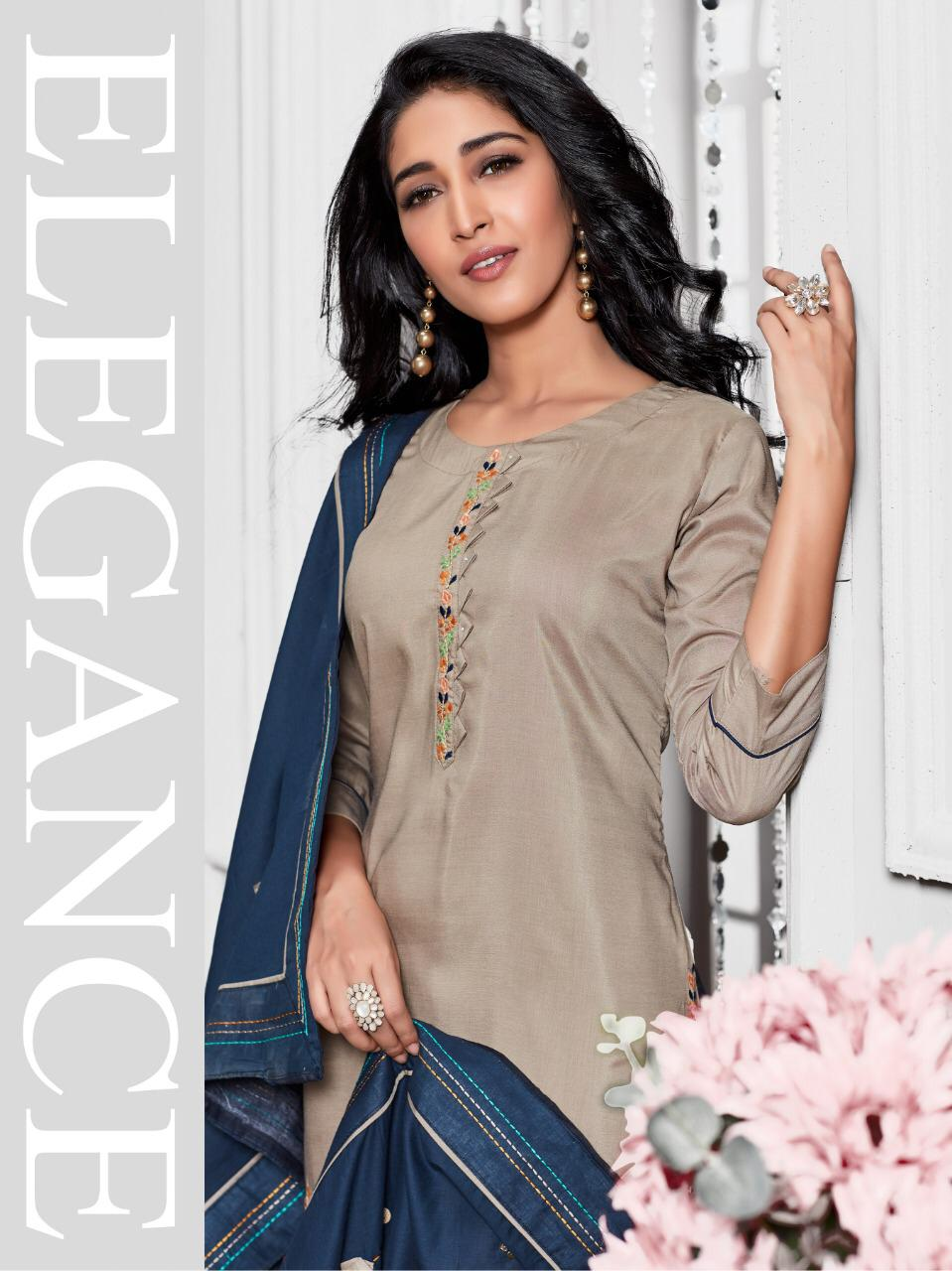 Kiana Crystal Vol 2 Designer Chanderi Silk Heavy Party Wear Fashionable Readymade Suits Wholesale