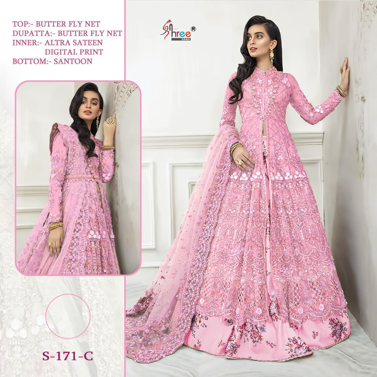 Shree Fab Colours Of 171 Designer Party Wear Heavy Embroidery Pakistani Patter Bridal Wear Gown Suits Wholesale