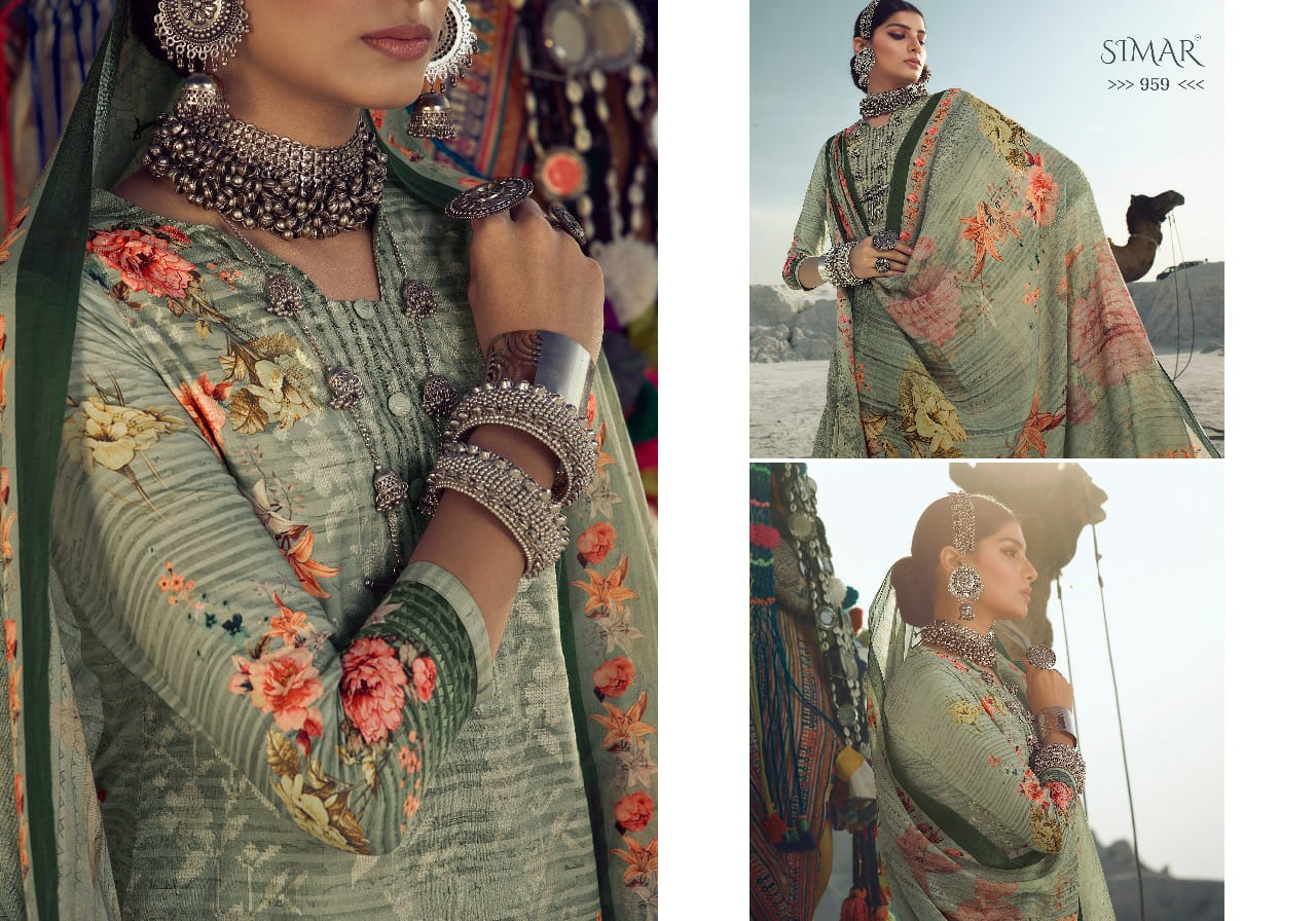 Simar Glossy By Florencia Cross Stitch Digitl Print Embroidery Suits Wholesale