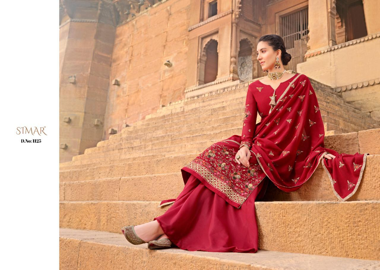 Simar Glossy Gulaal Chinnon Designer Embroidery Work Suits Wholesale