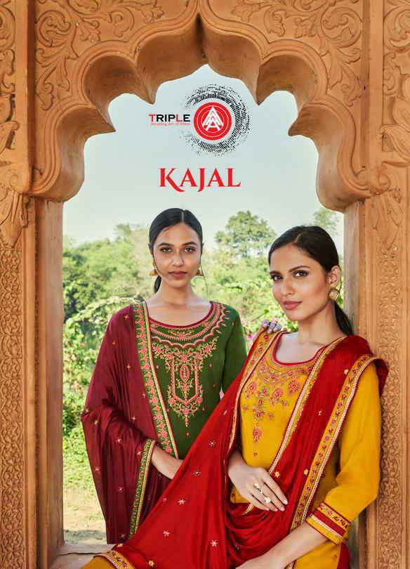 Triple Aaa Kajal Designer Jam Silk With Heavy Embroidery Party Wear Bridal Wear Suits Wholesale