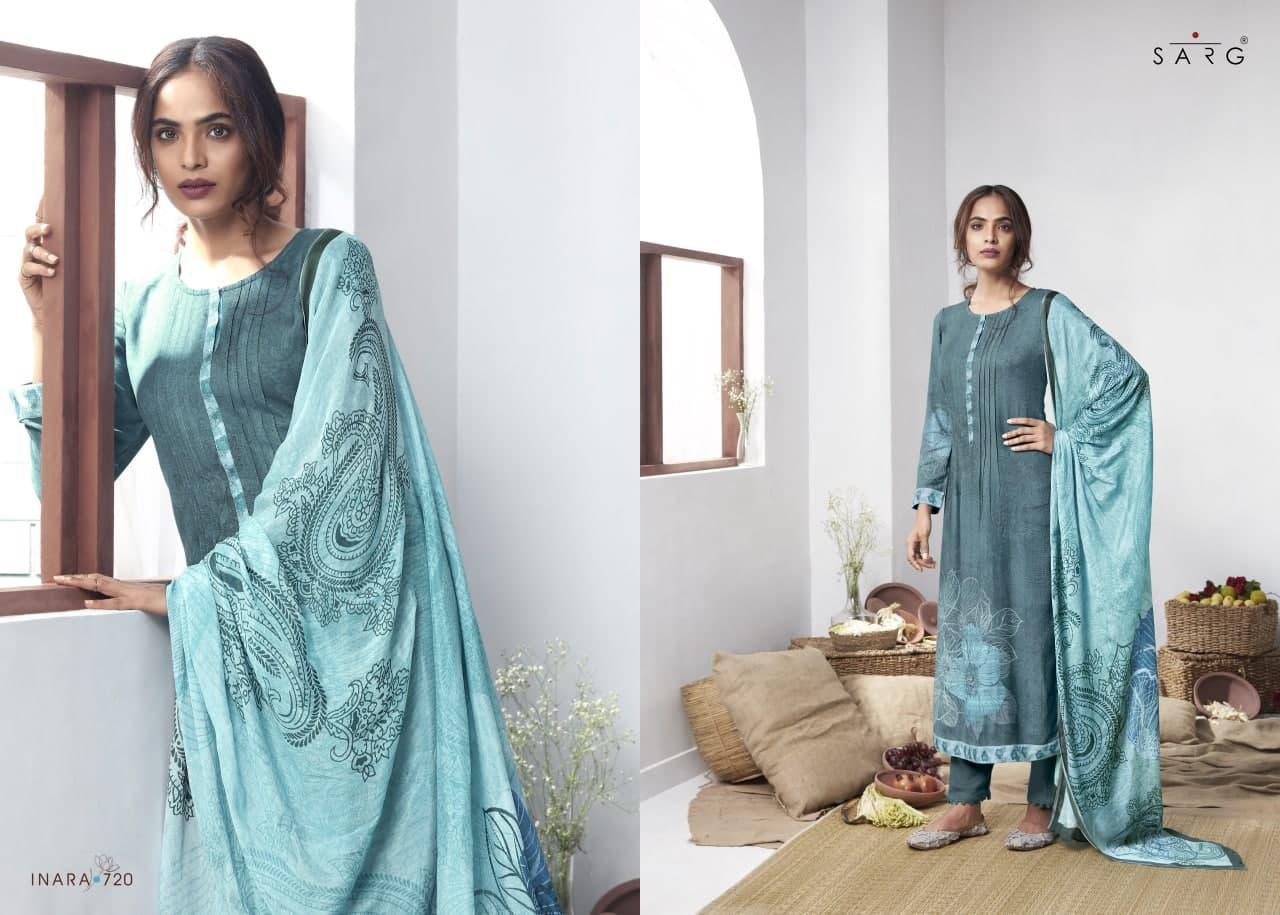 Sarg Inara Designer Russian Silk Digital Print Party Wear Bridal Wear Suits Wholesale
