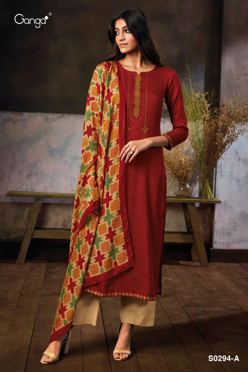 Ganga Myra 294 Designer Embroidery With Satin Printed Daily Wear Suits In Best Wholesale Rate