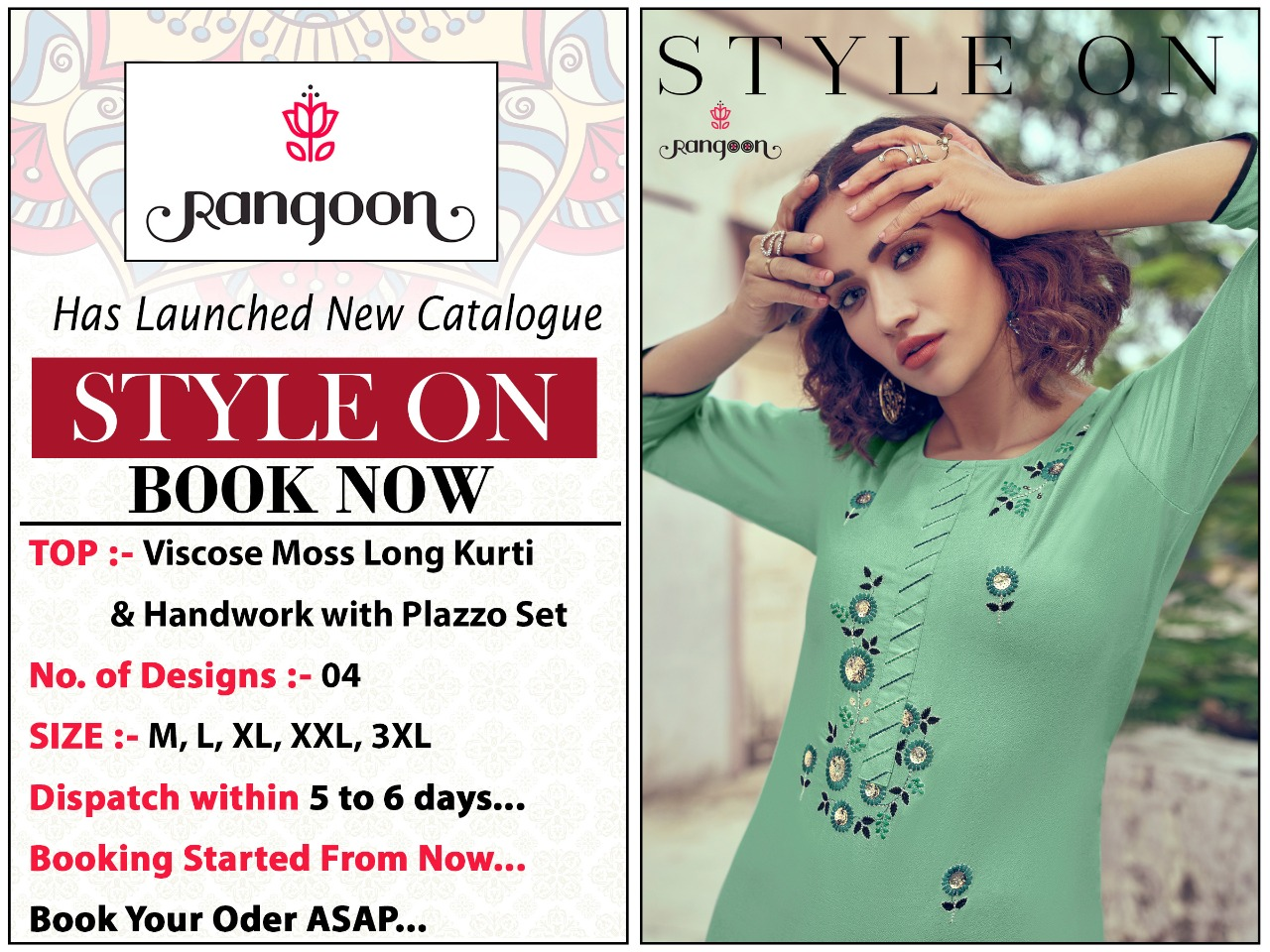 Kessi Rangoon Style On Designer Viscose Moss Long Party Wear Heavy Work Kurti At Best Wholesale Rate