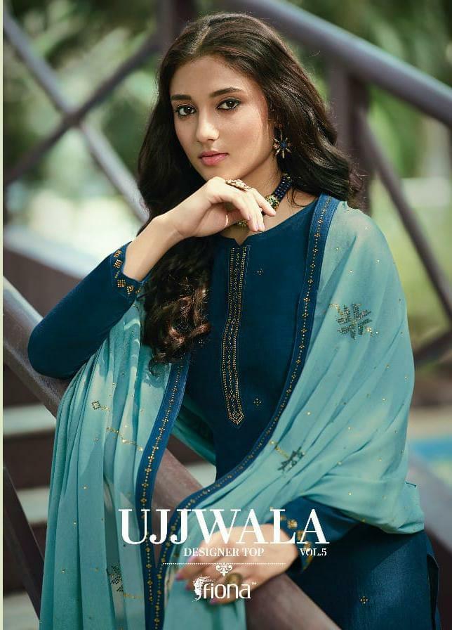 Fiona Ujjawala Vol 5 Designer Party Wear Soft Silk Suits Wholesale Rate