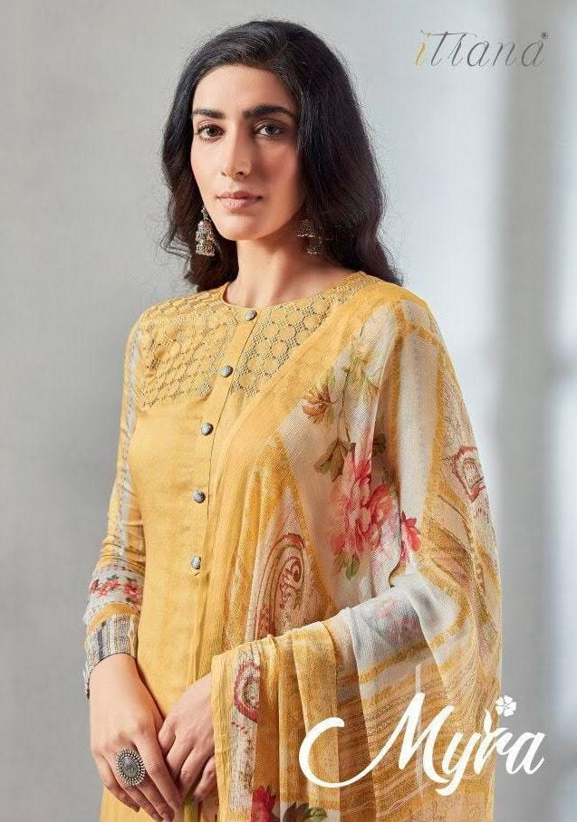 Itrana Myra Designer Cotton Satin Digital Print Embroidery Heavy Suits Wholesale