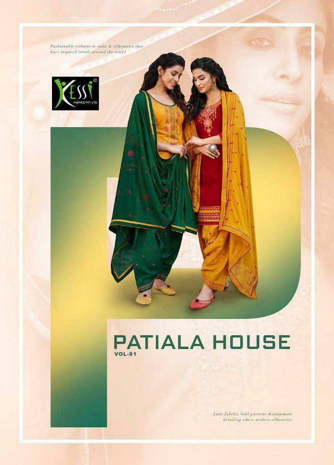 Kessi Fabrics Patiyala House 81 Designer Cotton Satin With Work Heavy Suits Wholesale