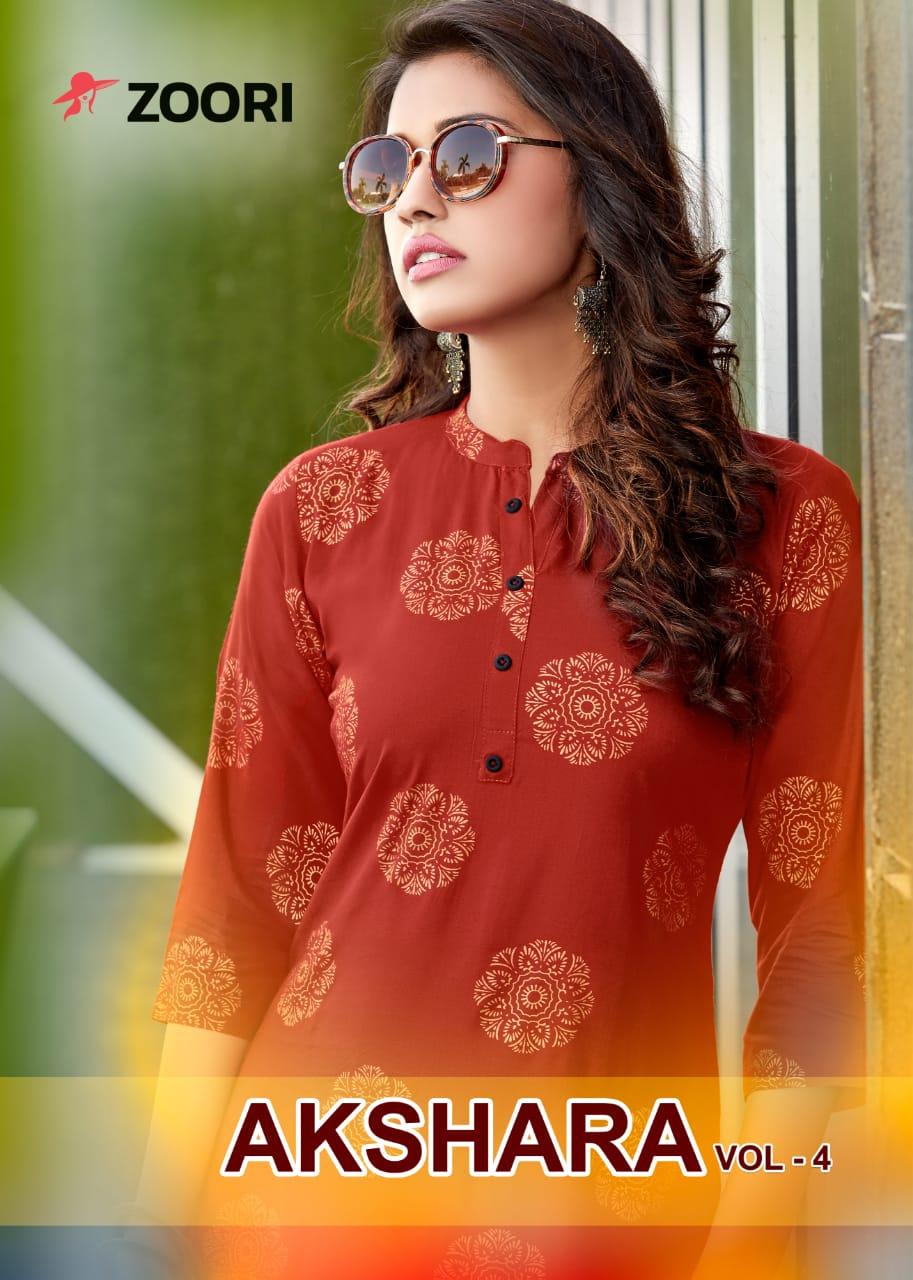 Zoori Akshara Vol 4 Rayon Ptint Designer Party Wear Kurti Wholesale