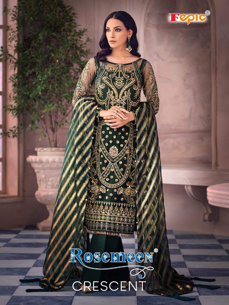 Fepic Rosemeen Crescent Net Heavy Embroidered With Handwork Suits Wholesale
