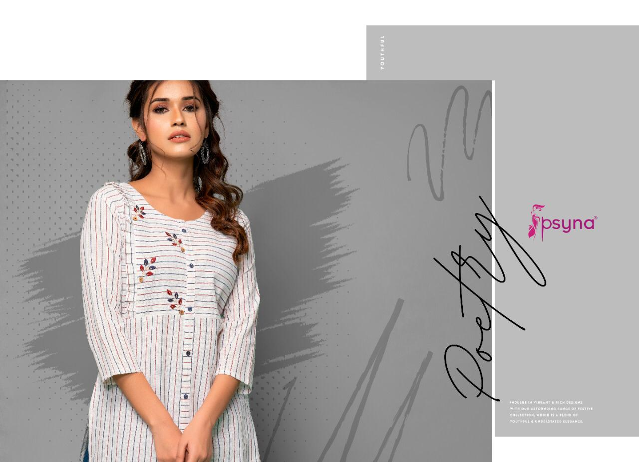 Psyna Poetry Vol 2 Embroided Handwork Cotton Kurties & Pants Wholesale Available At Best Rates