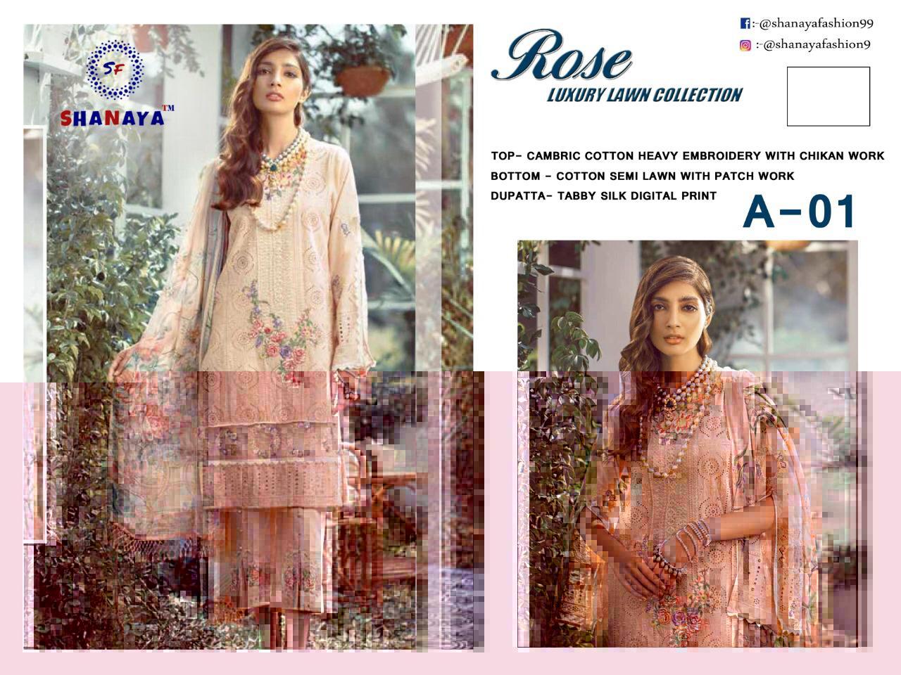 Shanaya Fashion Rose A-01 Designer Heavy Cotton With Chicken Work Suits In Singles
