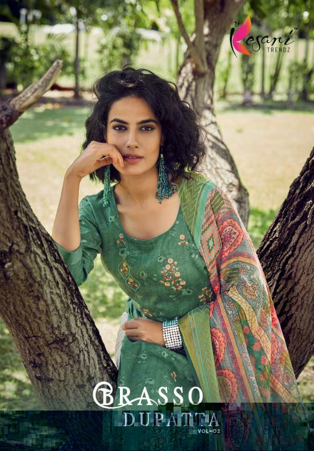 Kesari Trendz Brasso Dupatta Vol 2 Designer Cotton Satin Self Embroidery Work Suits Wholesale