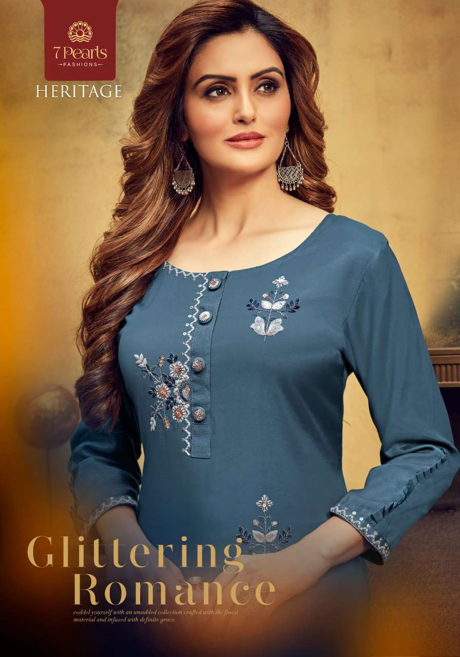 7 PEARLS HERITAGE DESIGNER PURE VISCOSE WITH HANDWORK KURTA WITH PANT IN BEST WHOLESALE RATE