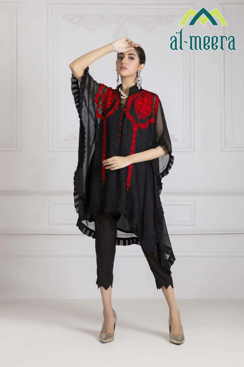 AL MEERA D.NO.1131 DESIGNER FOX GEORGETTE TOP AND JAM SATIN BOTTOM READYMADE TOP WITH PANT IN SINGLES