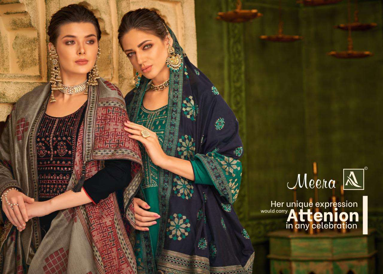 ALOK SUITS MEERA DESIGNER JAM COTTON WITH FANCY EMBROIDERY AND DIAMOND WORK SUITS WHOLESALE