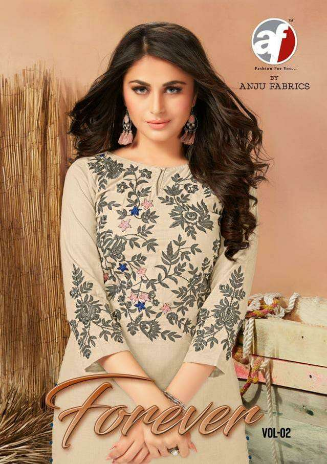 ANJU FABRIC FOREVER VOL 2 DESIGNER EMBROIDERY WITH HEAVY HANDWORK KURTIS WHOLESALE