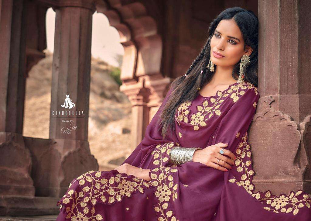 CINDERELLA REEM UPADA SILK WITH HEAVY EMBROIDERY WORK OCCASIONAL WEAR SUITS WHOLESALE