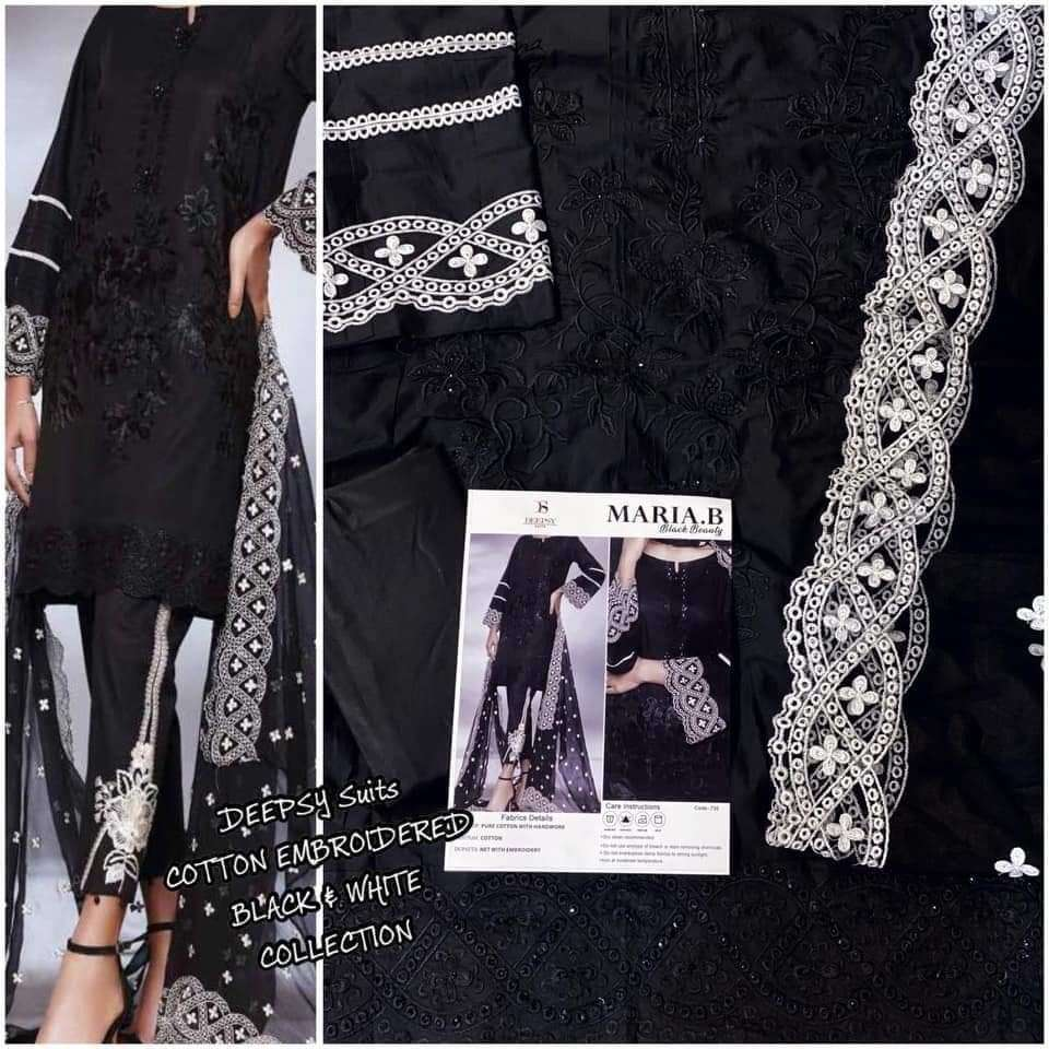 DEEPSY MARIA B BLACK BEAUTY DESIGNER COTTON WITH HEAVY EMBROIDERY WORK SUITS WHOLESALE