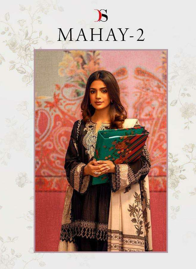 DEEPSY SUITS MAHAY 2 DESIGNER COTTON WITH EMBROIDERY WORK PAKISTANI PATTERN SUITS WHOLESALE