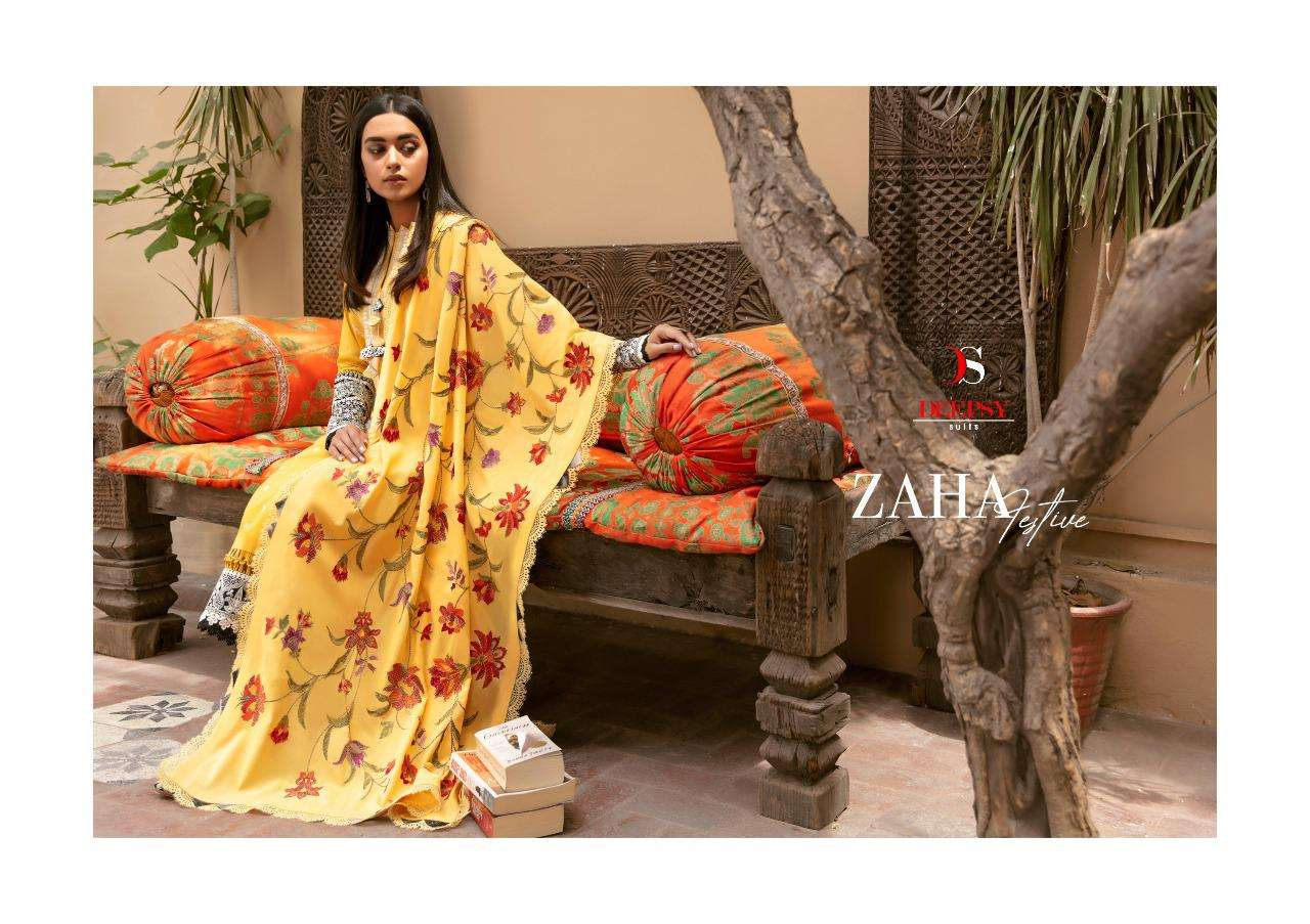 DEEPSY SUITS ZAHA FESTIVE COLLECTION DESIGNER PURE COTTON WITH EMBROIDERY WORK FESTIVE WEAR SUITS WHOLESALE