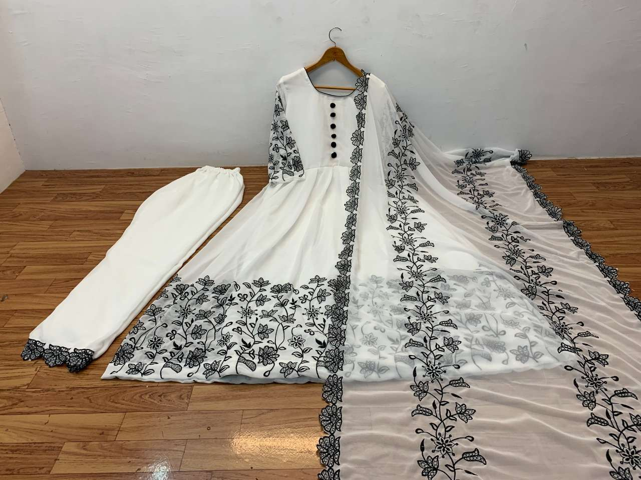 DESIGNER GEORGETTE WITH HEAVY EMBROIDERY WORK GOWN WITH PLAZZO AND DUPATTA IN SINGLES
