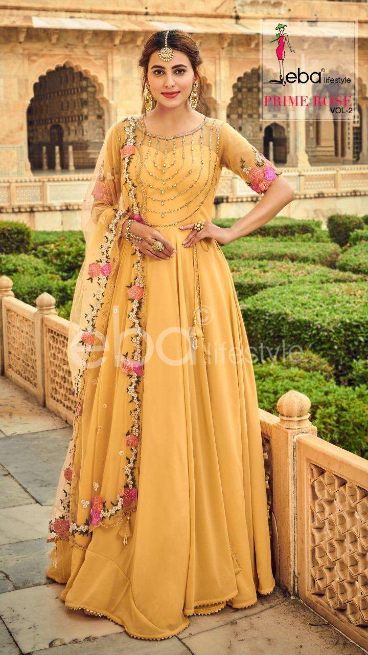 EBA LIFESTYLE PRIME ROSE 2 DESIGNER PURE GEORGETTE WITH HEAVY EMBROIDERY WORK PARTYWEAR SUITS WHOLESALE