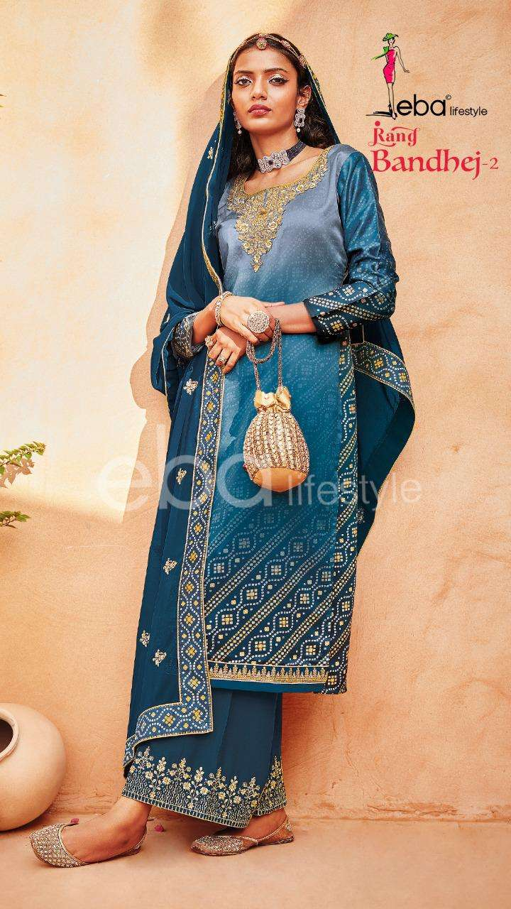 EBA LIFESTYLE RANG BANDHEJ VOL 2 DESIGNER HEAVY SATIN WITH DIGITAL PRINT WITH EMBROIDERY WORK SUITS WHOLESALE