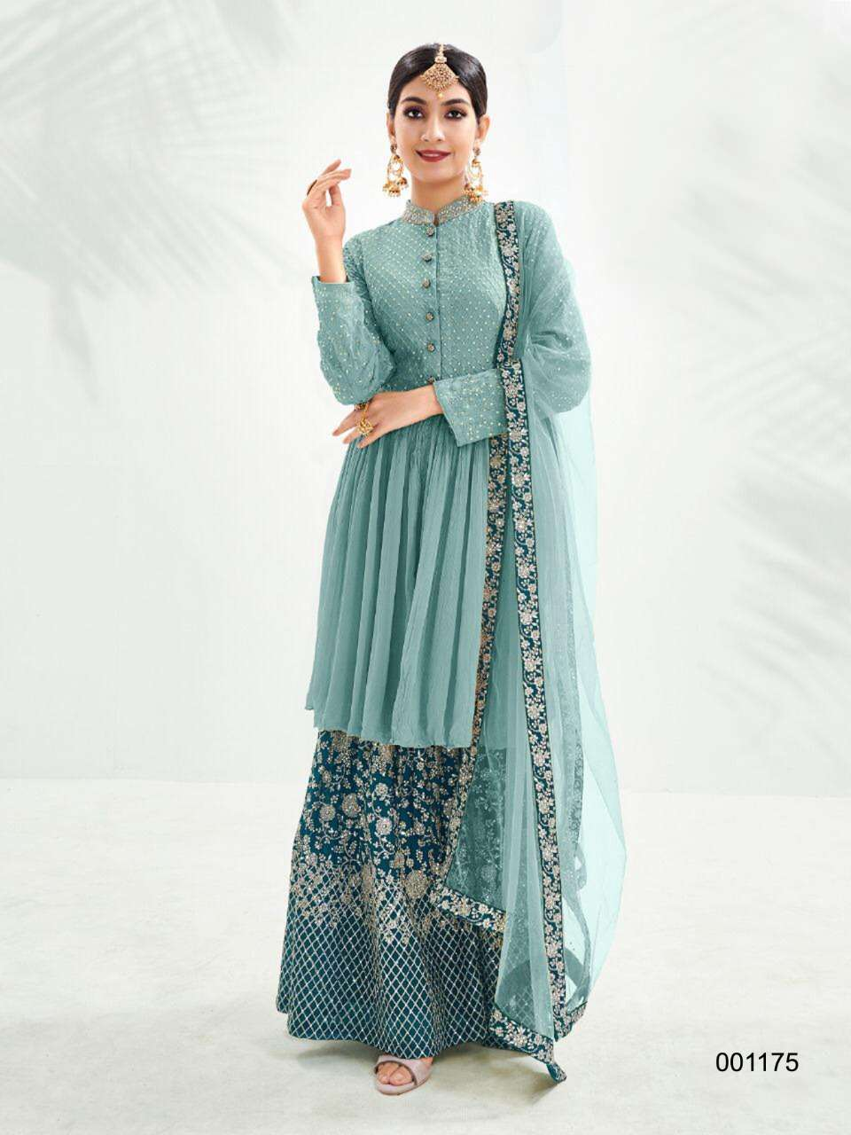 EBAA 001173 DESIGNER GEORGETTE WITH EMBROIDERY WORK HEAVY WORK PARTYWEAR SUITS IN SINGLES