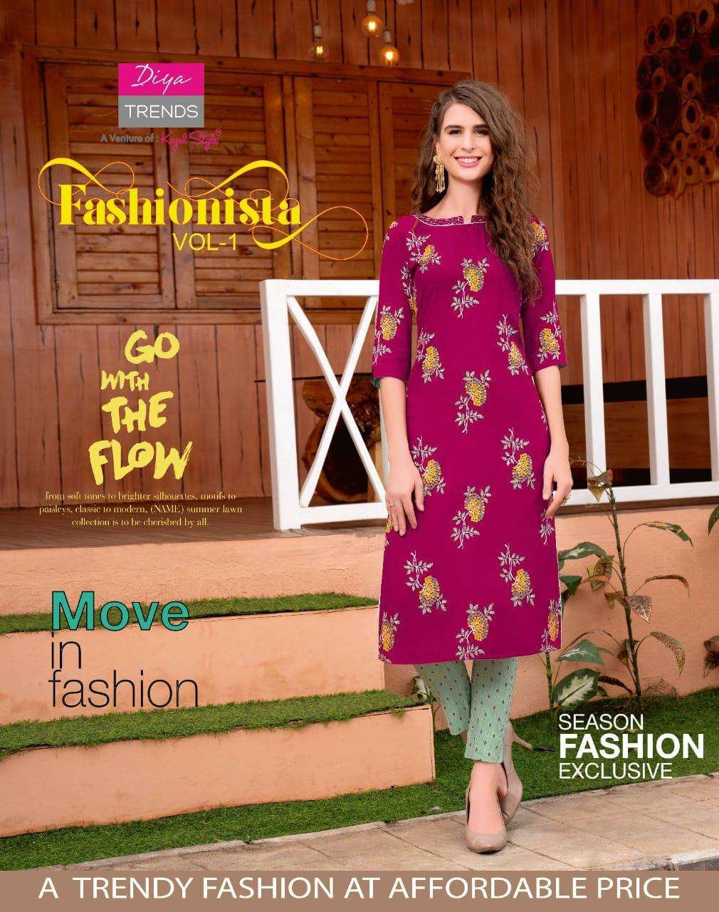 FASHIONISTA VOL 1 RAYON WITH CLASSY PRINT WITH EMBROIDERY WORK KURTI WITH RAYON PANT WHOLESALE