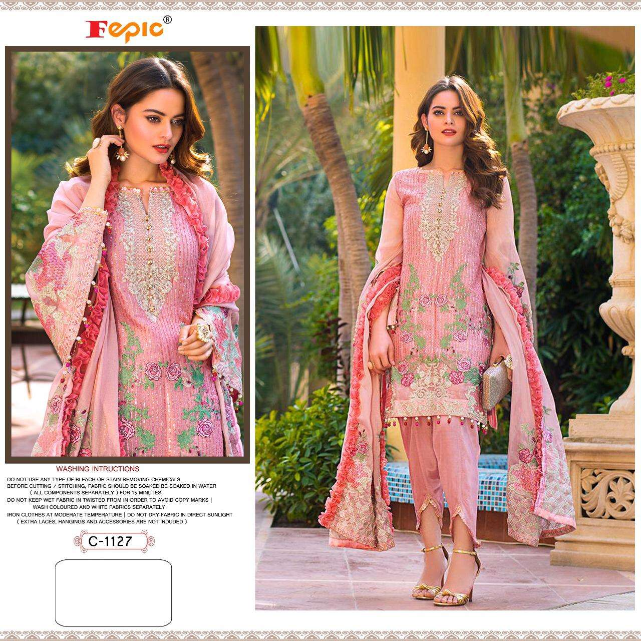 FEPIC ROSEMEEN D.NO 1127 DESIGNER HEAVY GEORGETTE WITH EMBROIDERY WORK PAKISTANI PATTERN PARTYWEAR SUITS IN SINGLES