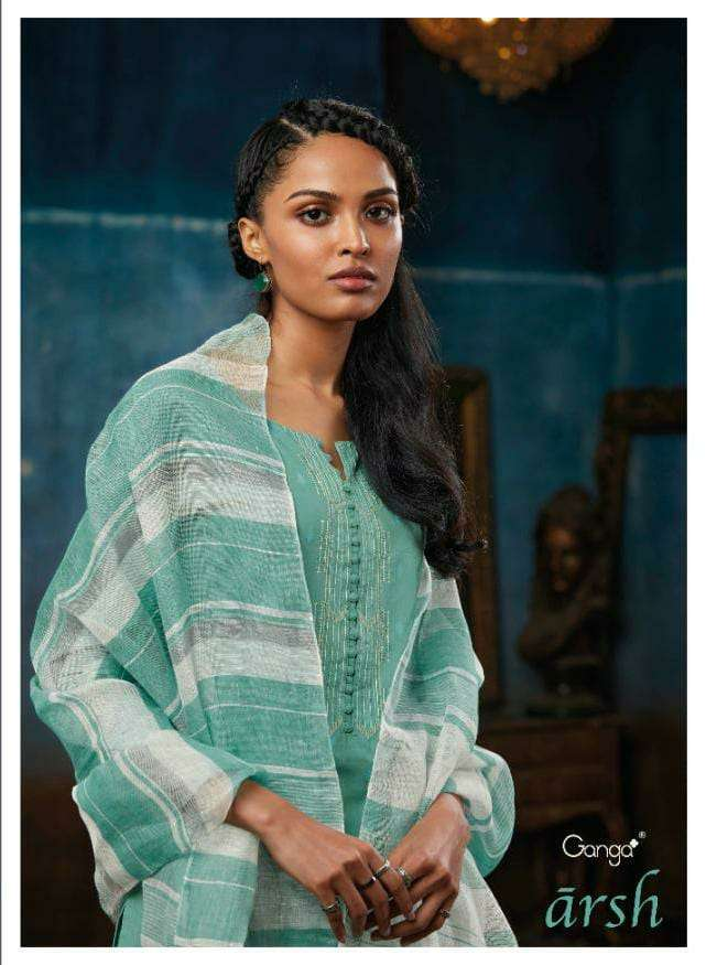 GANGA ARSH DESIGNER PREMIUM COTTON JACQURD WITH EMBROIDERY WORK SUITS WHOLESALE
