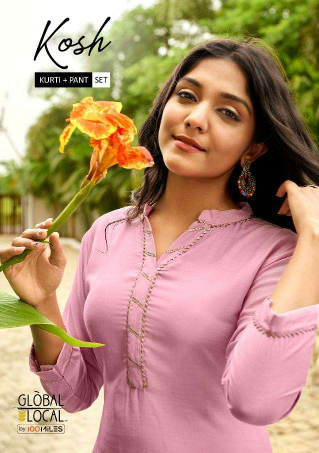 GLOBAL LOCAL KOSH DESIGNER MUSLIN KURTI WITH DETAILING LACE WITH MUSLIN PANT WHOLESALE