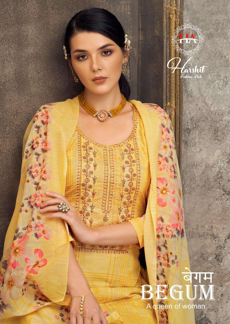 HARSHIT BY ALOK SUITS BEGUM DESIGNER COTTON DIGITAL PRINT WITH EMBROIDERY WORK AND SWAROVSKI WORK SUITS WHOLESALE