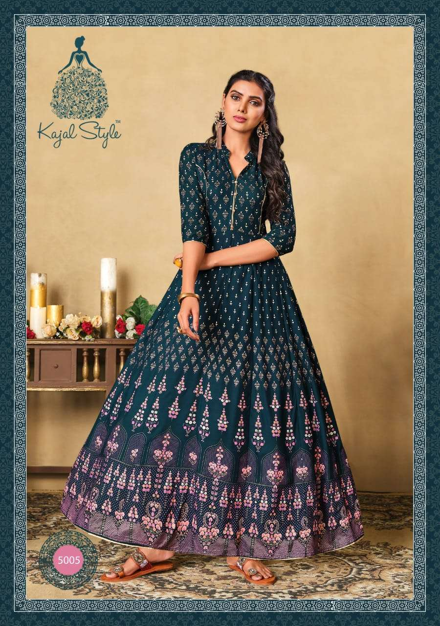 KAJAL STYLE COLORBAR VOL 5 DESIGNER RAYON FOIL PRINT WITH EMBROIDERY WORK GOWNS WHOLESALE