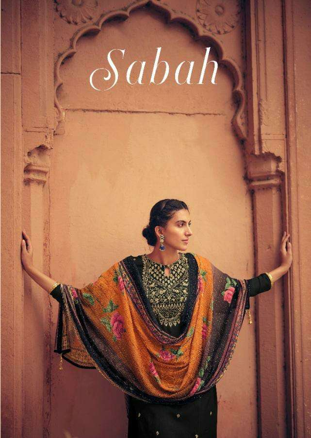 KARMA SABAH 945 SERIES DESIGNER MUSLIN EMBROIDERED TOP WITH DIGITAL PRINTED DUPATTA FESTIVAL WEAR COLLECTION IN BEST WHOLESALE RATE