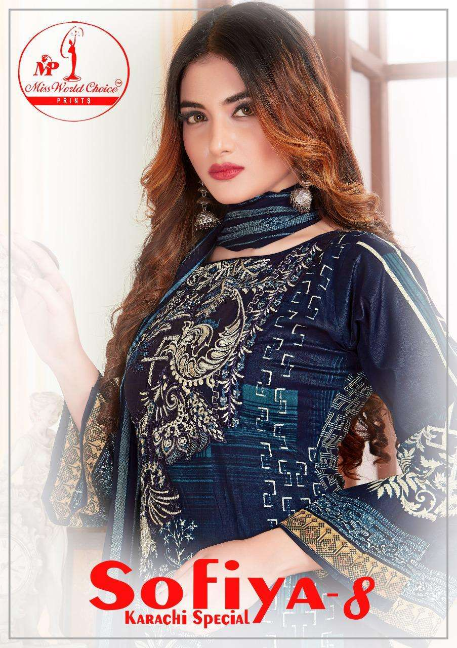 MISS WORLD SOFIYA VOL 8 DESIGNER COTTON PRINTED DAILY WEAR SUITS IN WHOLESALE RATE