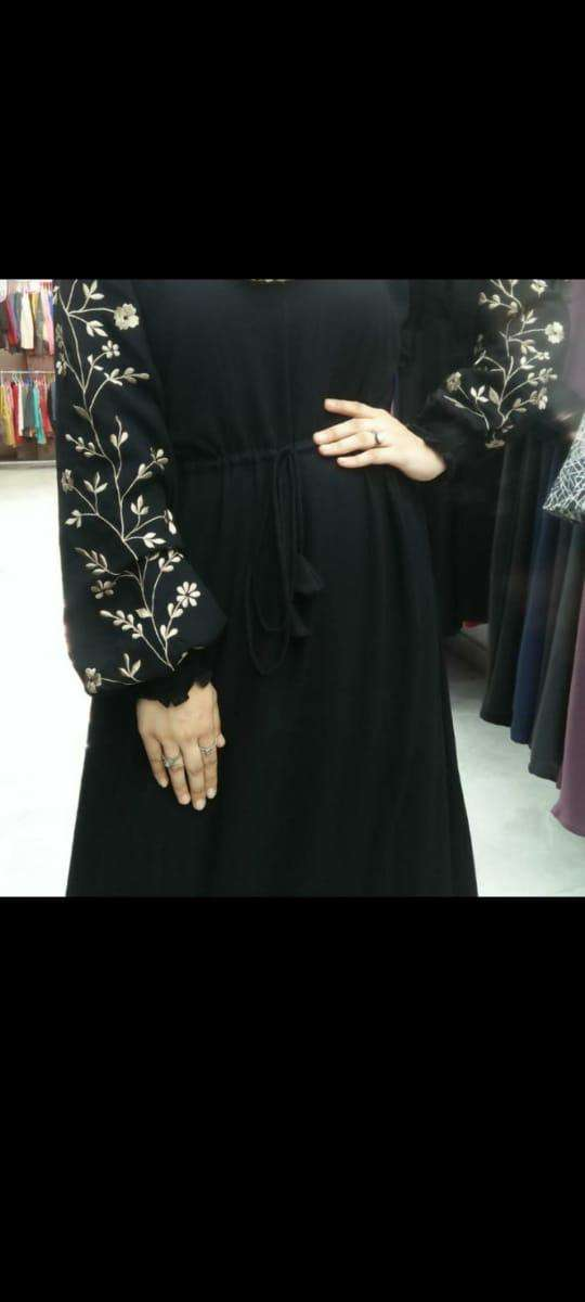 NIDA FABRIC BURQA WITH EMBROIDERY SLEEVES WORK IN SINGLES