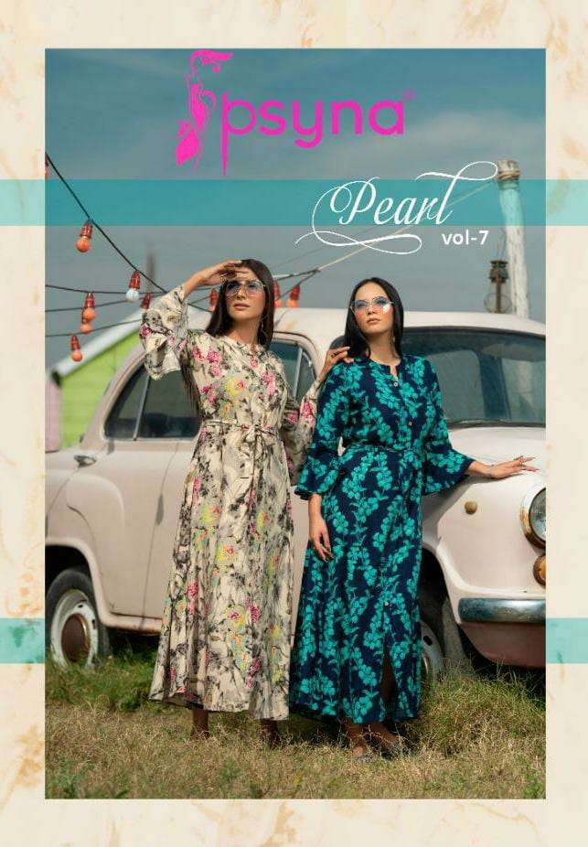 PSYNA PEARL 7 DESIGNER ANKEL LENGTH PRINTED LONG CLASSIC GOWNS WHOLESALE