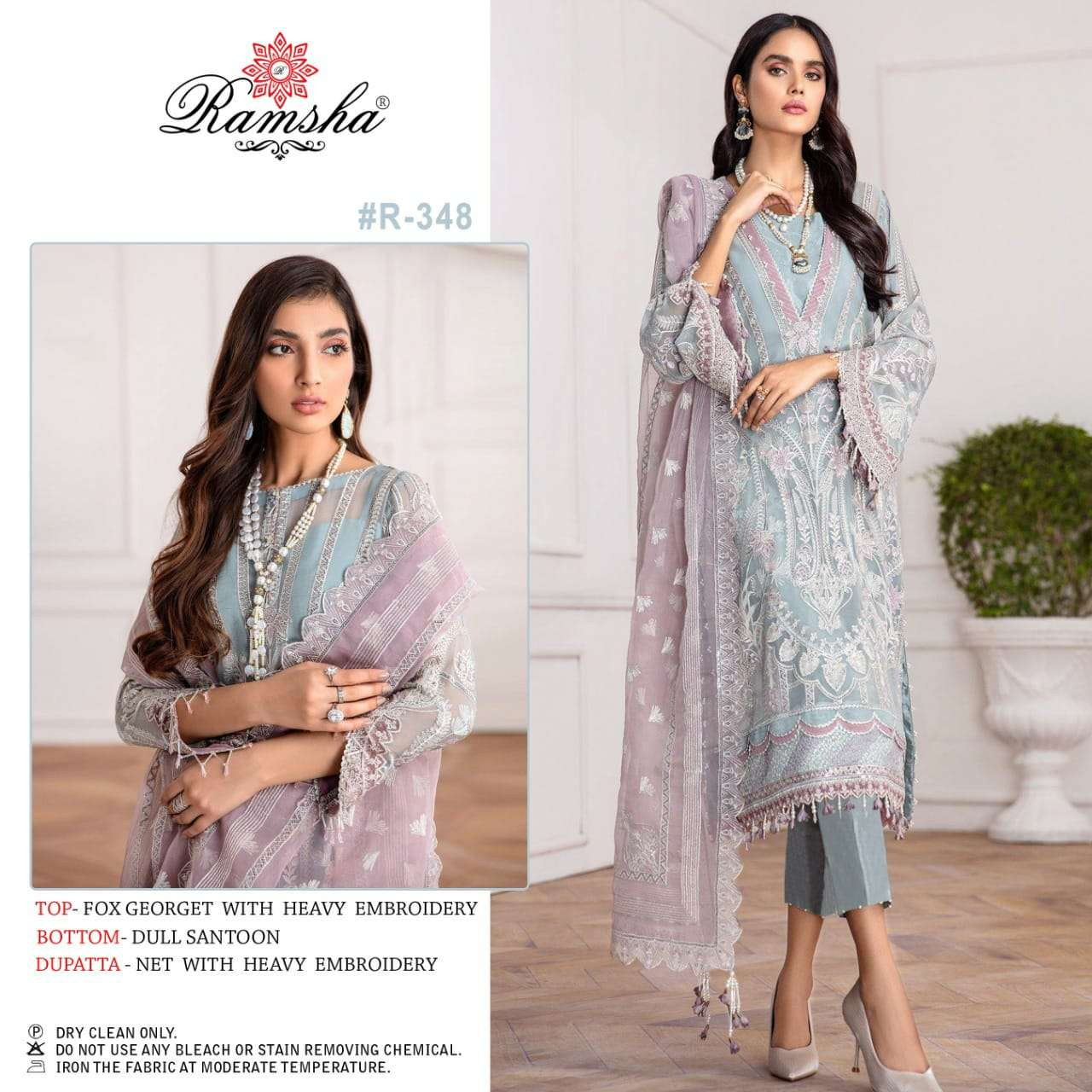 RAMSHA VOL 21 DESIGNER GEORGETTE WITH HEAVY EMBROIDERY WORK PAKISTANI PATTERN PARTYWEAR SUITS WHOLESALE