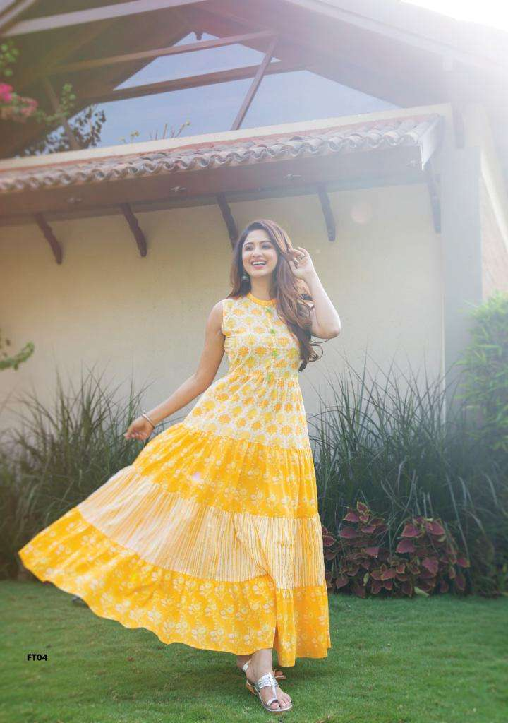 S4U FLAIRY TALES DESIGNER LONG COTTON PRINTED GOWNS WHOLESALE