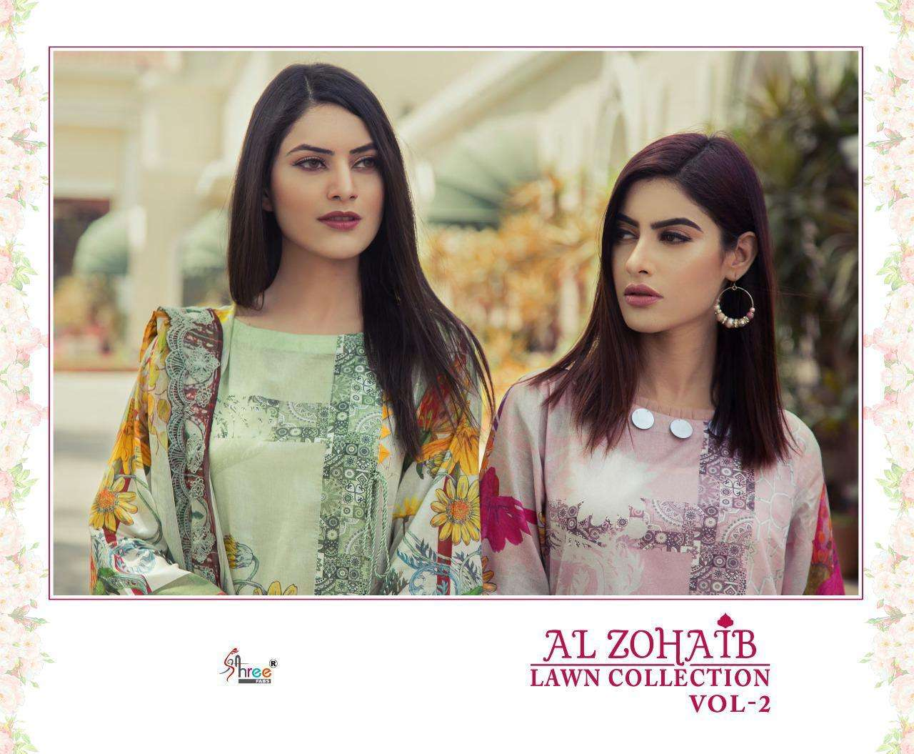 SHREE FAB AL ZOHAIB LAWN COLLECTION VOL 2 DESIGNER COTTON PRINT WITH EMBROIDERY PATCH WORK PAKISTANI REPLICA SUITS WHOLESALE