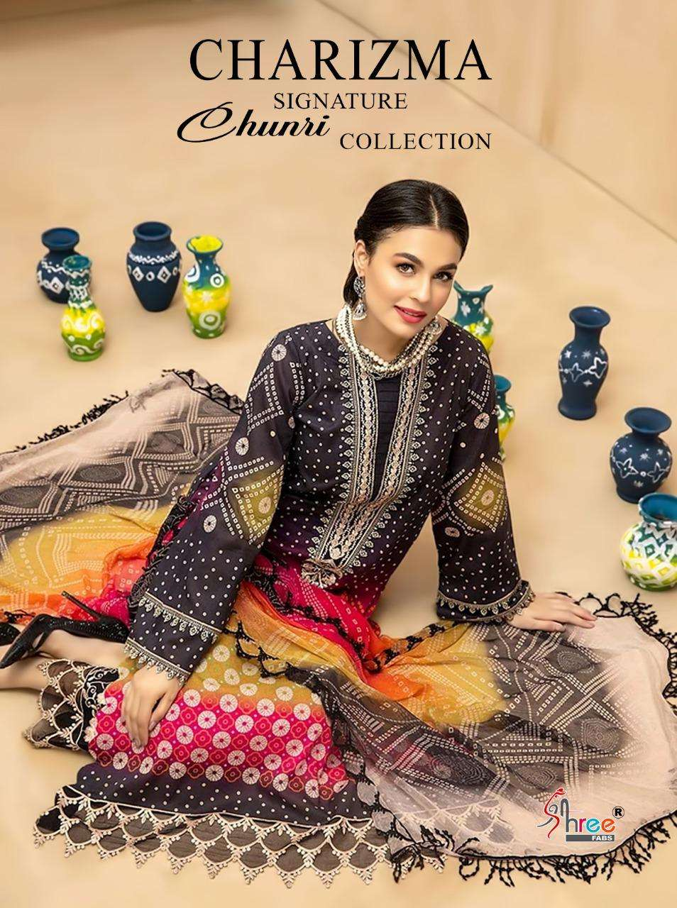 SHREE FAB CHARISMA SIGNATURE CHUNRI COLLECTION DESIGNER PURE COTTON WITH EMBROIDERY WORK SUITS WHOLESALE