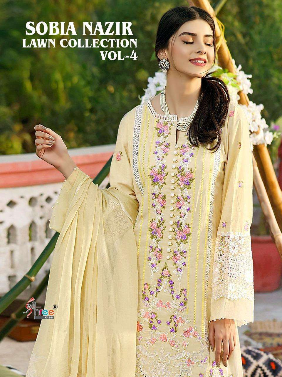 SHREE FAB SOBIA NAZIR LAWN COLLECTION VOL 4 DESIGNER LAWN COTTON WITH SELF EMBROIDERY WORK PAKISTANI PATTERN SUITS WHOLESALE