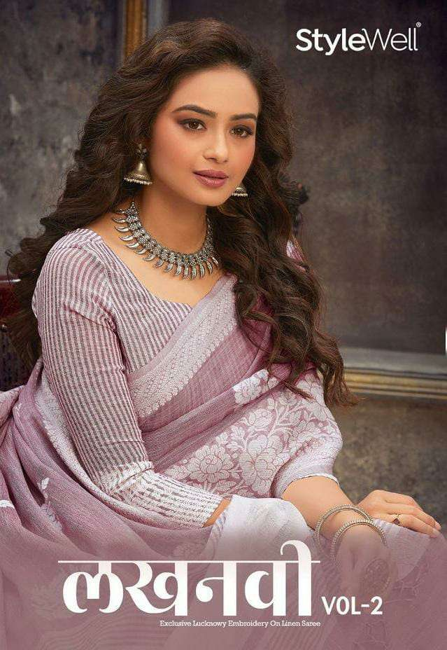 STYLEWELL  LUCKNOWI VOL 2 DESIGNER JACQURD LINEN WITH LUCKNOWI EMBROIDERY WORK SAREES WHOLESALE